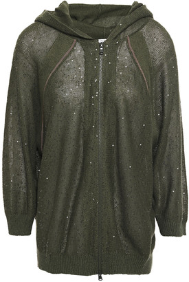 Brunello Cucinelli Bead-embellished Sequined Linen And Silk-blend Hoodie