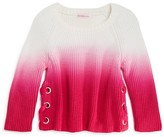 Design History Girls' Ombré Lace Up Sweater - Sizes 2-6X