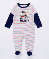 Buster Brown Medieval Blue & Bright White 'Tiny But Mighty' Interlock Footie