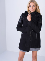 Missy Empire SP Black Leather Panel Coat