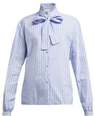 Gucci Pussy-bow Striped Logo-jacquard Cotton Shirt - Womens - Blue Print