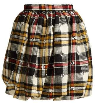 Miu Miu Crystal Embellished Tartan Wool Mini Skirt - Womens - Ivory Multi
