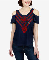 Lucky Brand Cotton Embroidered Cold-Shoulder Top