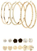Charlotte Russe Embellished Stud & Hoop Earrings - 9 Pack