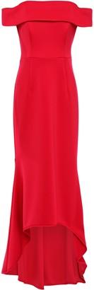 Black Halo Eve By Laurel Berman Snapdragon Asymmetric Off-the-shoulder Ponte Gown