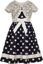 Bonnie Jean Bonnie Jeandot Dress w/ Short Sleeve Lace Mock Cardigan
