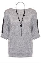 Quiz Grey Lace Shoulder Detail Light Knit Necklace Top