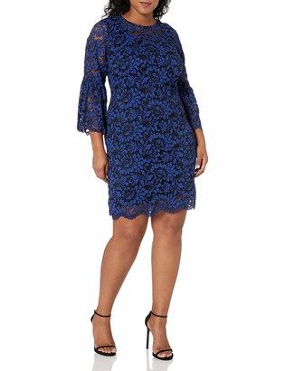 Chetta B Women's Size Bell Sleeve Lace Dress Plus