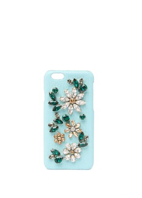 Dolce & Gabbana Reptile Embossed Embellished Leather iPhone 6S Case