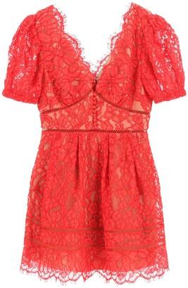 Self-Portrait LACE MINI DRESS 10 Red Cotton