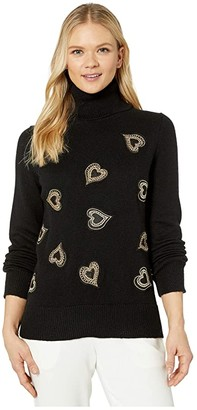 Vince Camuto Long Sleeve Heart Embellished Turtleneck Sweater (Rich Black) Women's Sweater