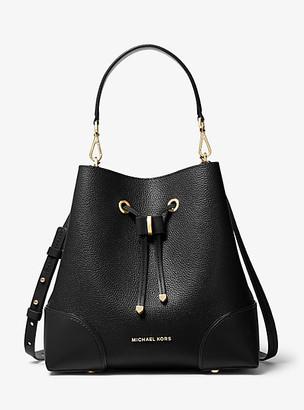 MICHAEL Michael Kors MK Mercer Gallery Medium Pebbled Leather Shoulder Bag - Black - Michael Kors