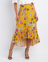 Charlotte Russe Floral High-Low Maxi Skirt
