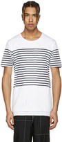 Miharayasuhiro White Striped Distressed T-shirt