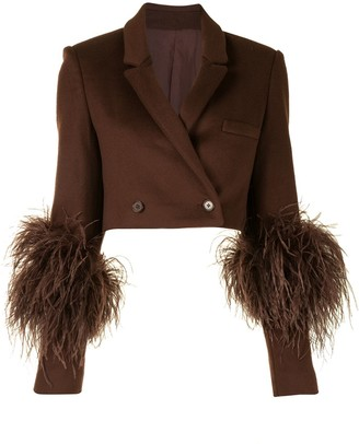 Sally LaPointe Cropped Wool Feather Trim Blazer