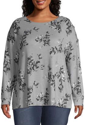 A.N.A Plus Womens Crew Neck Long Sleeve Sweatshirt