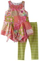 Rare Editions Baby Girl Floral Handkerchief-Hem Tunic & Striped Leggings Set