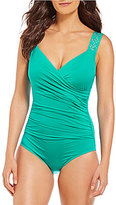 Jantzen Solid Shoulder Draped Surplice Tummy Control One-Piece