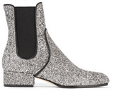 Jimmy Choo Monty Glittered-leather Chelsea Boots - Silver