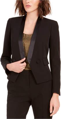 Bar III Tuxedo Satin-Trim Open-Front Double-Breasted Blazer