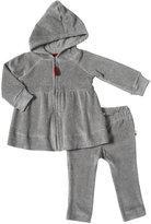 Burt's Bees Baby Velour Striped Hoodie Set (Baby) - Heather Grey-24 Months