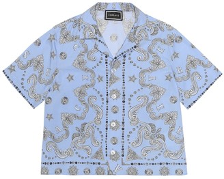 Versace Kids Barocco stretch-cotton shirt