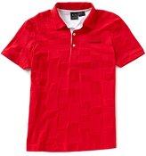 Armani Exchange Checkered Tonal Short-Sleeve Polo Shirt