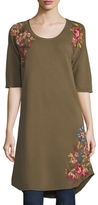 Johnny Was Malui Floral-Embroidered French Terry Tunic