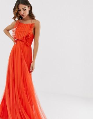 Asos Design DESIGN Lace top ruffle strappy back maxi dress
