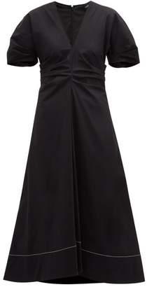 Proenza Schouler Gathered Cotton-blend Midi Dress - Womens - Black