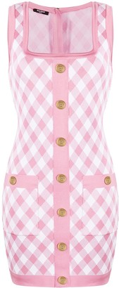 Balmain Knitted Check-Print Minidress
