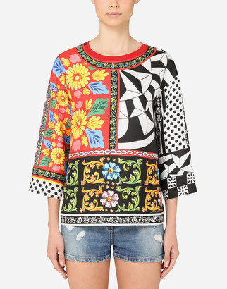 Dolce & Gabbana Patchwork-Print Twill Blouse