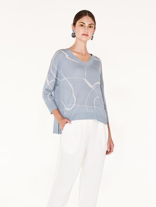 Paisie Light Blue Light Grey V Neck Top With Marble Print - L/XL - Grey/Blue