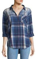 Current/Elliott The Boyfriend Indigo-Plaid Oversized Cotton Shirt