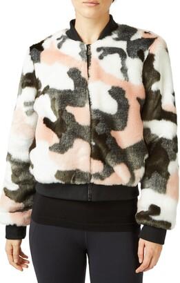Sweaty Betty Malabar Camo Faux Fur Bomber Jacket