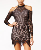 Material Girl Juniors' Lace Cold-Shoulder Bodycon Dress, Only at Macy's