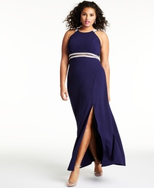 Sequin Hearts Trendy Plus Size Embellished Halter Gown, Created for Macy's