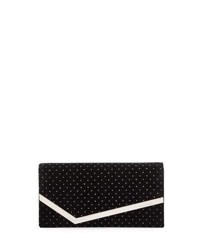 Jimmy Choo Emmie Glitter Spotted Velvet Clutch Bag