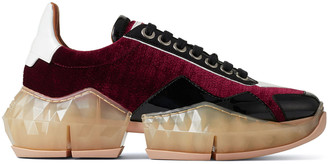 Jimmy Choo DIAMOND/F Bordeaux Lizard Printed Velvet and Black Patent Low Top Trainers with Chunky Sole