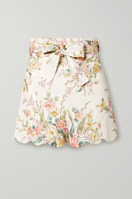 Zimmermann Zinnia Scalloped Floral-print Linen Shorts - Ivory