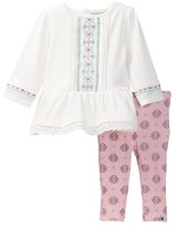 Lucky Brand Lace Trim Tunic & Printed Legging Set (Baby Girls 12-24M)