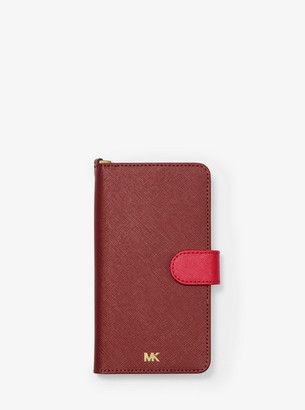 MICHAEL Michael Kors Two-Tone Saffiano Leather Wristlet Folio Case for iPhone XS Max