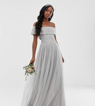 Bardot Maya Tall Bridesmaid maxi tulle dress with tonal delicate sequins in soft grey