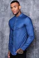 boohoo Long Sleeve Denim Chambray Shirt with Grandad Collar