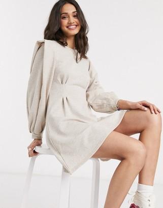 Asos DESIGN mini sweat dress with pleated waist in oatmeal
