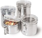 Oggi 4-pc. Stainless Steel Locking Kitchen Canister Set With Spoons