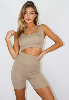 Missguided Stone Co Ord Knit Crop Top