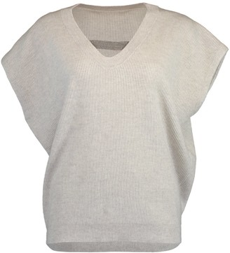 Brunello Cucinelli Fog Short Sleeve Monili Neck Cashmere Knit