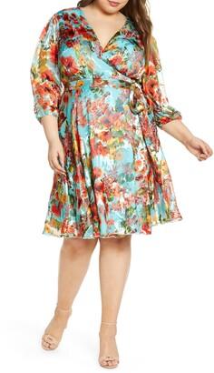 Marée Pour Toi Floral Print Chiffon Wrap Dress