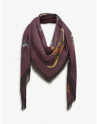 Loewe Alphabet animal-print silk-twill scarf
